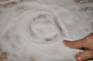 Practicing Our Letters in…Salt?