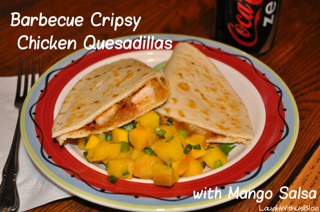 Barbecue Crispy Chicken Quesadillas with Mango Salsa #MealsTogether #CBias