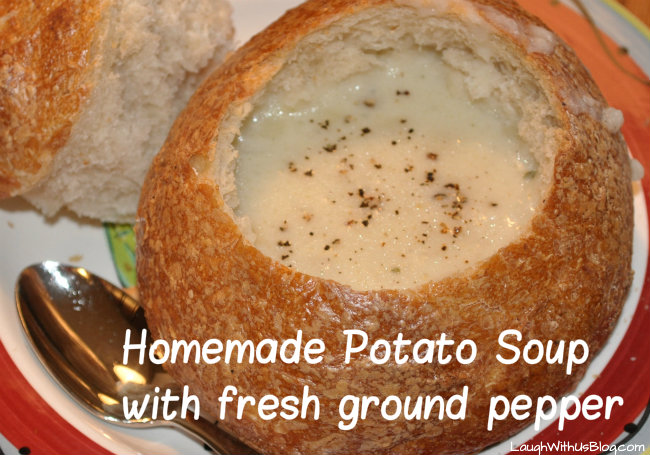 homemade potato soup with fresh ground pepper