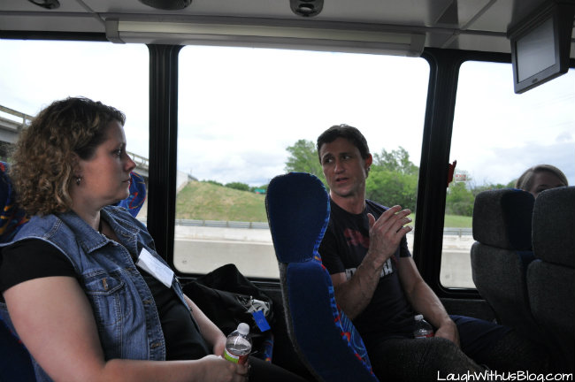 Bus ride with Medieval Times actors trainers