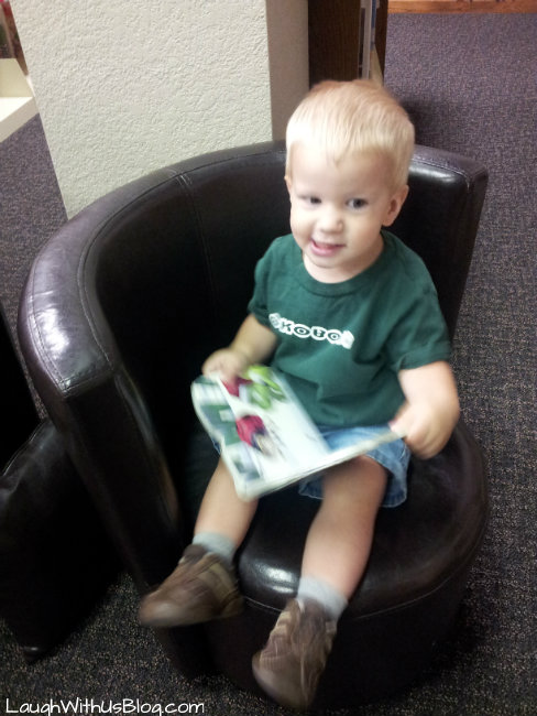 checking out a library book