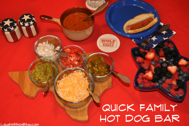 Quick Family Hot Dog Bar #1TexasChili #ad