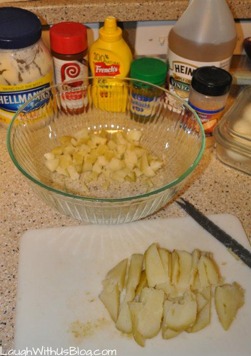 Homemade potato salad ingredients
