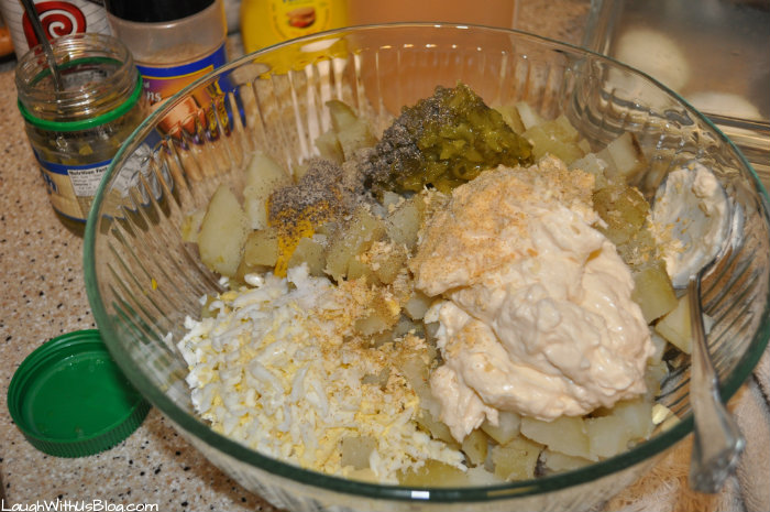 Mix potato salad