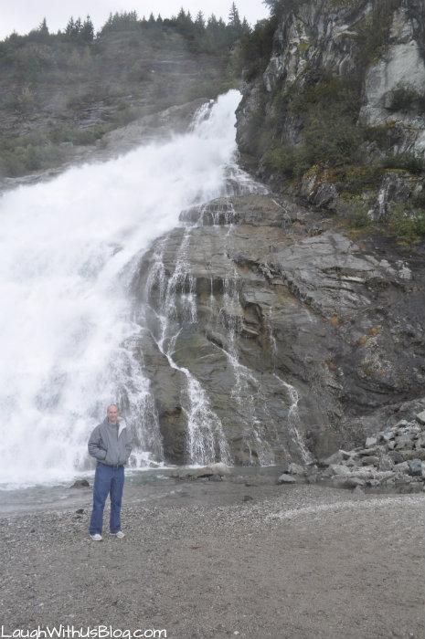 At the bottom of Nuggat Falls Alaska