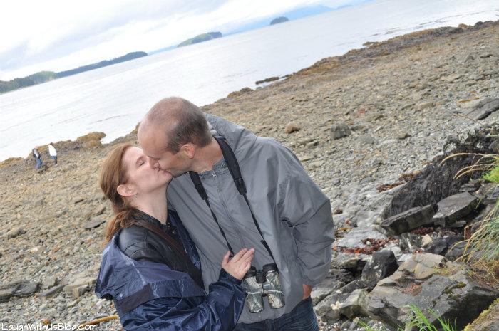 Romantic moment on beach in Alaska