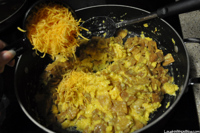 Add cheese to migas #GoldrichYolk #ad