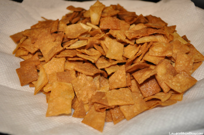 Drain tortilla chips on paper towels #GoldrichYolk #ad