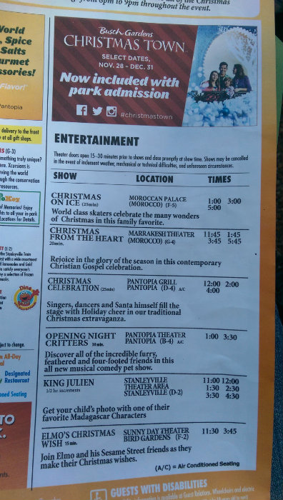 #ChristmasTown Schedule at Busch Gardens #sponsored