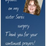Thank you for praying for Sara!