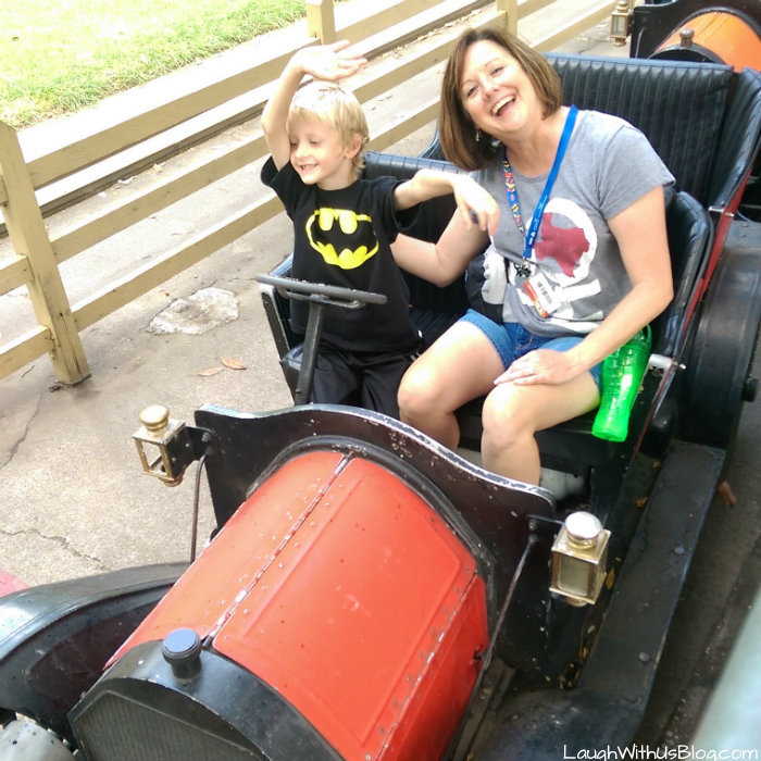 Driving a car at Six Flags over Texas