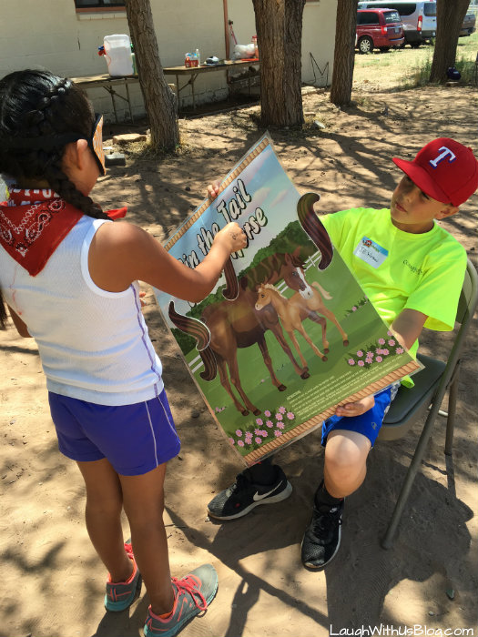 Navajo Reservation VBS Pin the tail on the horse