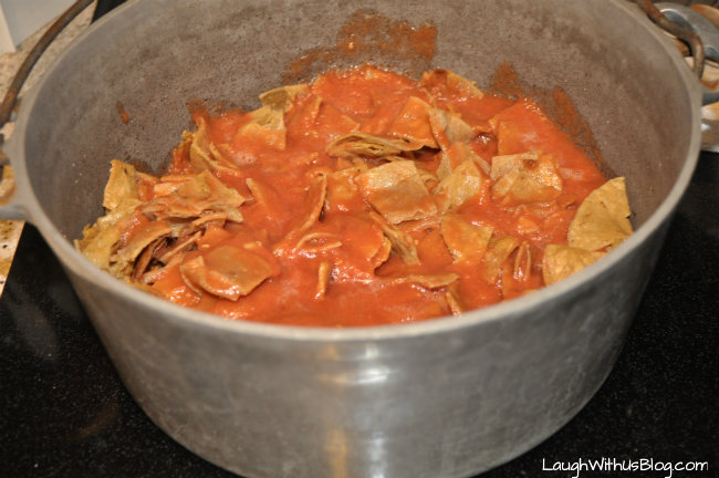 Chilaquiles add the sauce