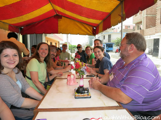 Peru eating outside