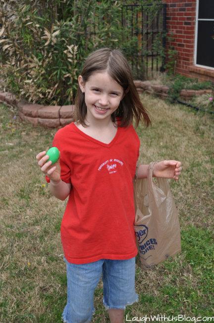 Joy finding eggs