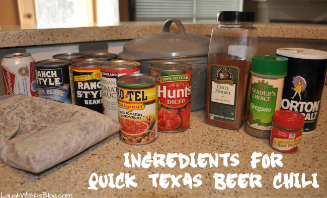 Ingredients for quick Texas Beer chili