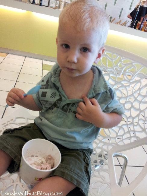 Eating frozen yogurt