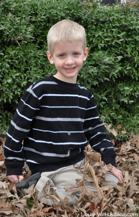Little Jason in leaves