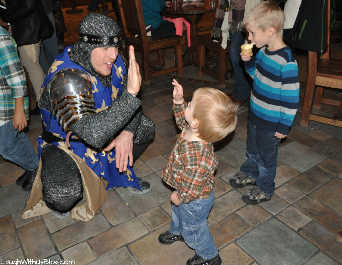 high fiveing a knight