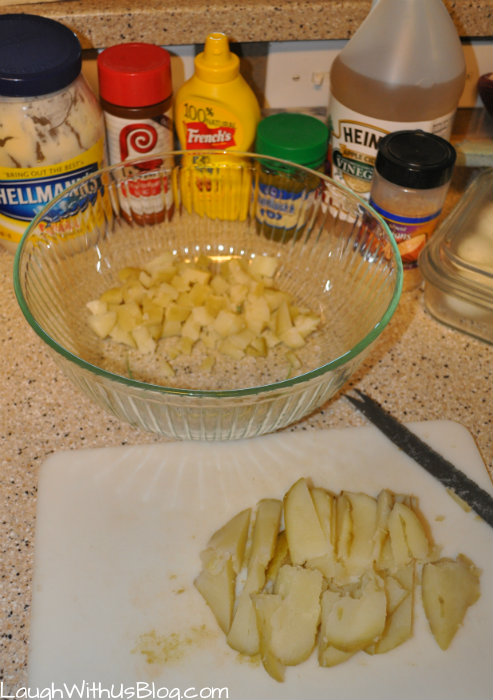 Homemade potato salad ingredients