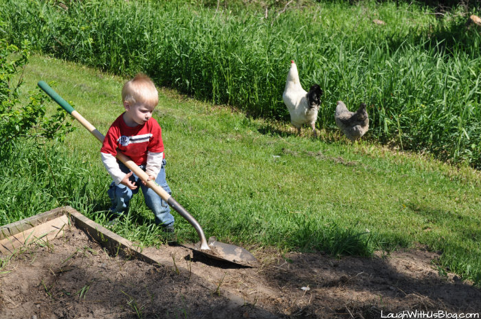 little boy big shovel