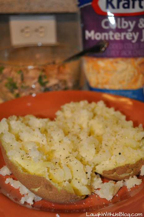 Baked potato with salt and pepper