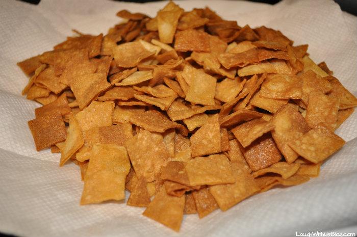Drain tortilla chips on paper towels #GoldrichYolk #ad