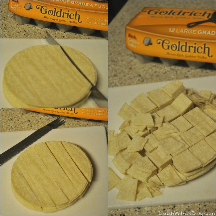 Migas cutting tortillas #GoldrichYolk #ad