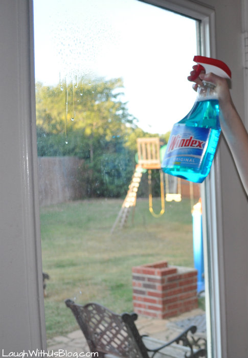 Spray Windex starting a the top #InstaClean #ad