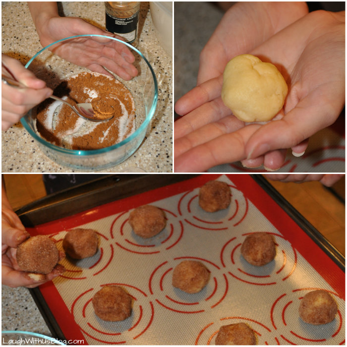 Making Snickerdoodle balls #GoldrichYolk #ad