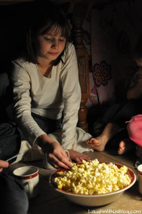 Enjoying Pop Secret popcorn #PopSecretForts #ad