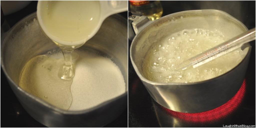 Heat sugar and corn syrup