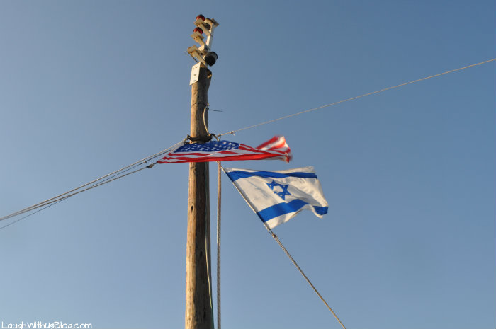 US and Israel flags flown together