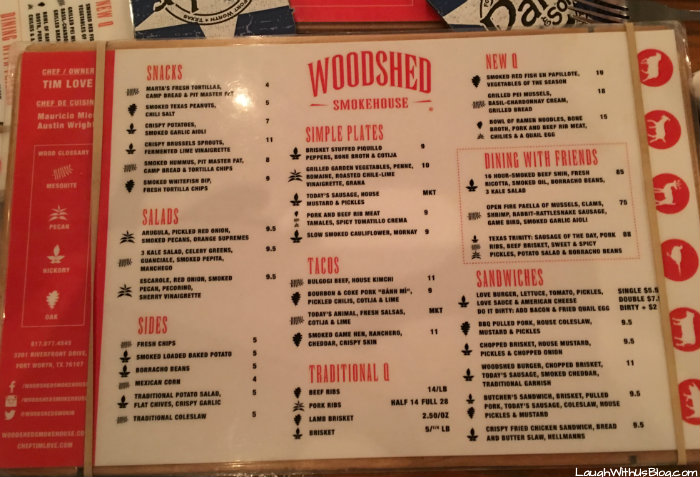 The Woodshed Smokehouse menu