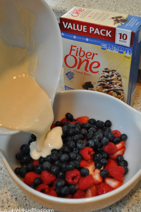 Triple Berry Salad with Yogurt #FiberOneFlavor #ad