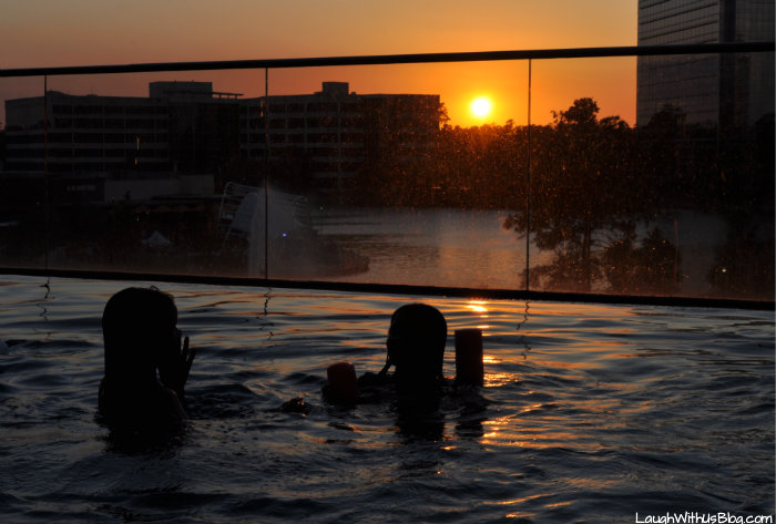 Infinity Pool at Sunset Embassy Suites The Woodlands #PrettyGreat
