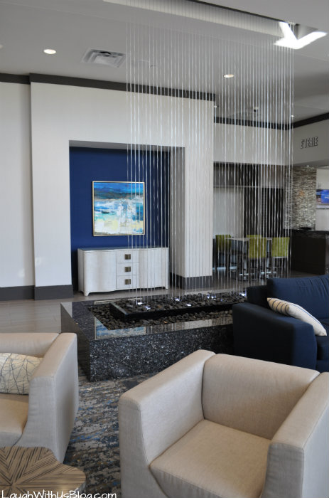 Lobby water wall Embassy Suites The Woodlands #PrettyGreat