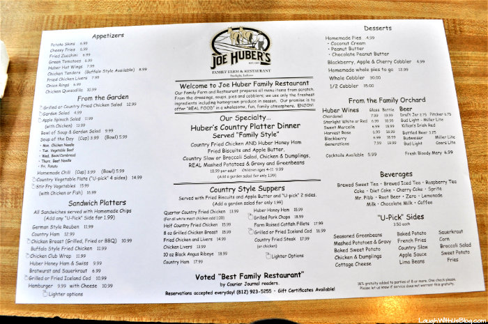 Joe Huber's menu